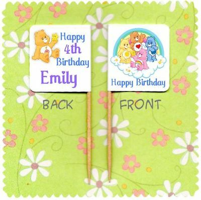 £3.25 • Buy 20 PERSONALISED CARE BEAR CUP CAKE FLAG Party Pick Food Topper Birthday