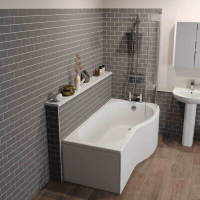 Left & Right Hand P Shaped Shower Bath 1700mm Bath Tub With Shower Screen • 259.99£