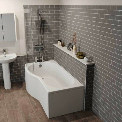 Bathroom Suite P Shaped Left Hand Shower Bath Glass Screen Front Bath Panel 1700 • 299.99£