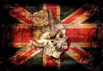 Union Jack Skulls And Roses Canvas Picture Poster Print Wall Art Unframed #394 • 5.77£