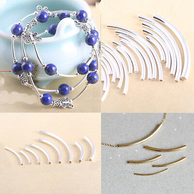$3.67 • Buy Curved Tube Silver Gold Plated Elbow Noodle Spacer Loose Bead DIY Jewelry Making