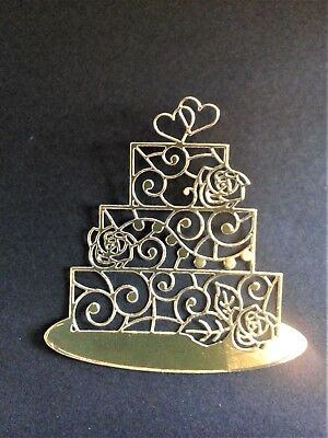 4 x Gold/silver Cake Card Toppers, Paper Craft, Wedding, Birthday, Anniversary • 2.50£