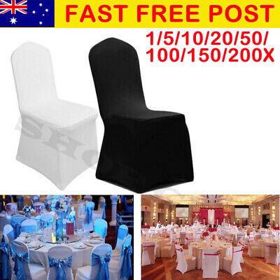 AU7.90 • Buy 1-200 White/Black Chair Covers Full Seat Cover Spandex Stretch Banquet Wedding
