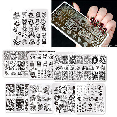 $11.99 • Buy 8Pcs Set BORN PRETTY Nail Art Stamping Plate 5 Square 3 Rectangle Print Template