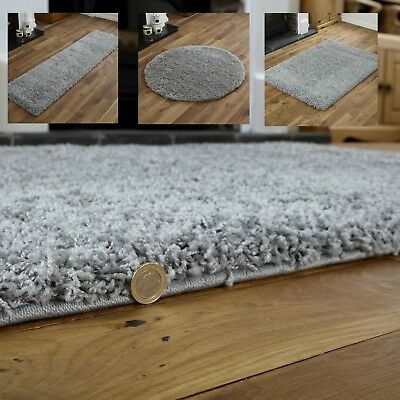Modern Small Extra Large Grey Colour Thick 5cm Pile Non-shed Shaggy Rug Runners. • 14.39£