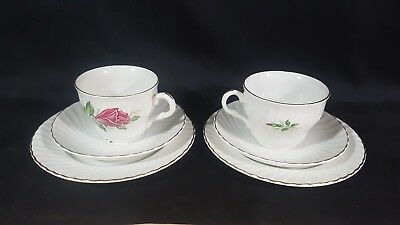 Pair Of Barratts Delphatic Trios Cup Saucer Plate Pink Rose Gilded White China • 18.85£