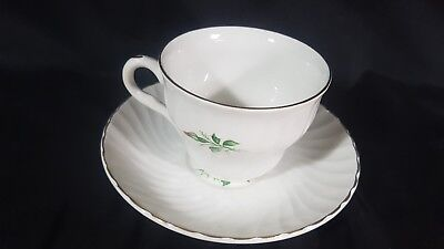 Barratts Delphatic Duo Cup Saucer With A Pink Rose And Gilded On White China • 12.85£