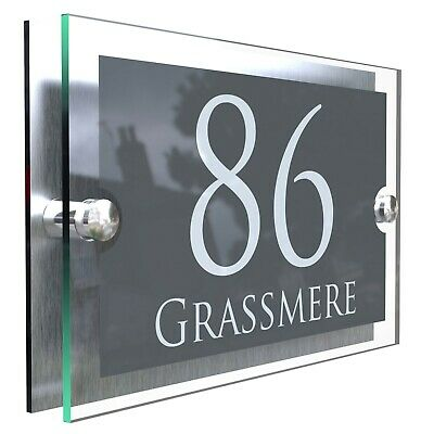 House Number Plaques Glass Effect Acrylic Signs Door Plates Name Wall Display • 9.99£