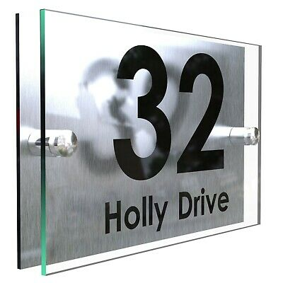 Contemporary House Sign Plaques Door Numbers Personalised Address Acrylic • 8.95£