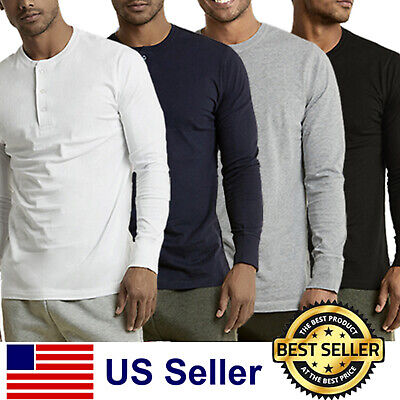 $15.95 • Buy New Mens Henley Shirt T-shirts Shirts Long Sleeve Cotton Pullover Comfy Button