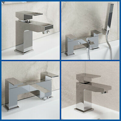 £23.97 • Buy Modern Chrome Bathroom Square Tap Sets | Basin & Bath Taps With Shower & Waste