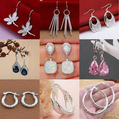 $ CDN2.82 • Buy Women 925 Silver Ear Stud Lotus Flower Crystal Aquamarine Wedding Earrings