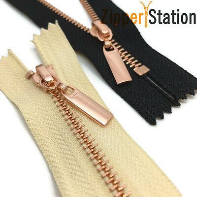 Metal Polished ROSE GOLD Teeth Zips No 3 Weight Zip - Closed End (RG3CE) • 3.95£
