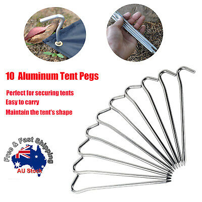 AU8.99 • Buy 10pcs Aluminum Tent Pegs Ground Stakes Nail For Outdoor Camping Hiking 18CM O