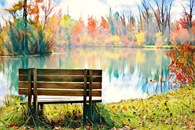 Abstract Autumn Trees Water Canvas Picture Poster Print Wall Art Unframed #2208 • 5.82£