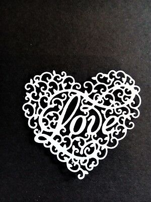 8 X Intricate Love Hearts, Card Toppers, Paper Craft, Die Cut, Wedding, Birthday • 2.25£