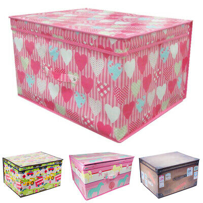 Jumbo Fold Flat Childrens Storage Chest - Bedroom Tidy Toy Box • 8.99£