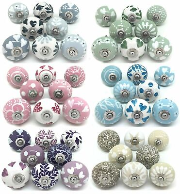 SETS OF 8 CERAMIC KNOBS Drawer Pulls Cupboard Handles Door Vintage Shabby Chic • 26.50£