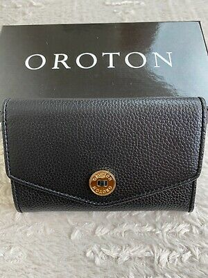 AU79.95 • Buy NEW Oroton Melanie Pebble Highfold Saffiano Leather Wallet Clutch Purse Black