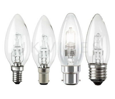 Halogen Candle SES Bayonet 18w 28w 42w Light Bulbs SBC ES Long Life Eco Lamps • 5.99£