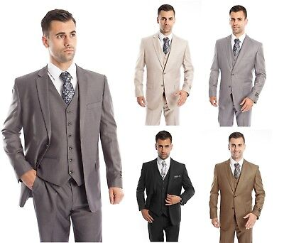 $69.99 • Buy Men's Three Piece Vested Suit Modern Fit Two Button Formal Solid Dress Suits Set