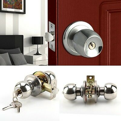 UK Stainless Steel Round Knobs Privacy Passage Entrance Lock Door Entry With Key • 6.89£