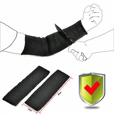 Black Steel Wire Tactical Cut Proof Armband Protective Sleeve Arm Guard Bracers • 9.59£
