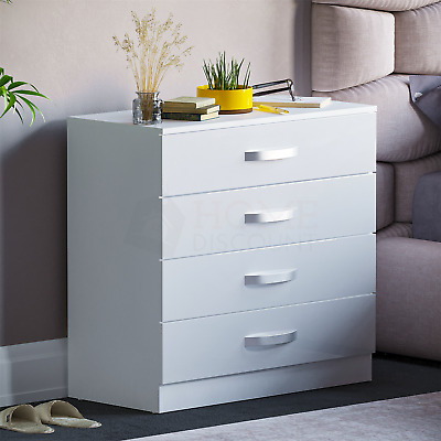£64.95 • Buy Hulio High Gloss Chest Of Drawers White 4 Drawer Metal Handles Bedroom Furniture