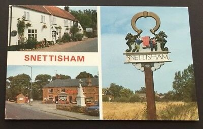 Postcard Snettisham Multi-View Village Sign Old Church Road Norfolk 1809 • 2.99£