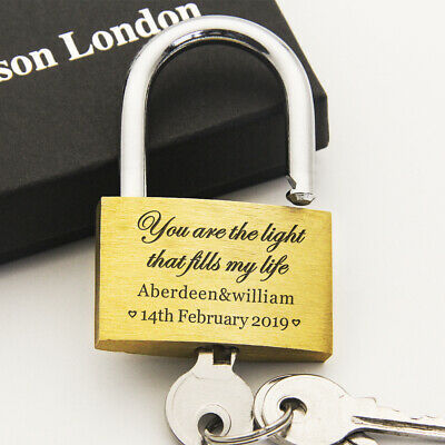 Personalised Engraved Padlock Anniversary Wedding Favour 40mm Love Lock With Box • 4.99£