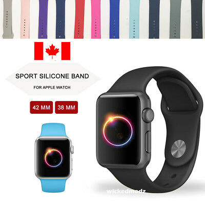 $ CDN7.99 • Buy For Apple Watch Band 42mm 38mm Silicone Band Strap S-M M-L Various Colors