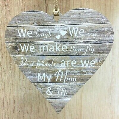 £7.99 • Buy Gift For Mum Mother Daughter Best Friends Mummy & Me Rustic Heart Birthday Gifts