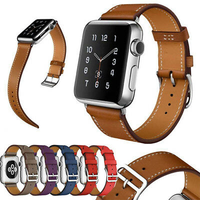 AU13.99 • Buy Genuine Leather Wrist Band Strap For Apple Watch IWatch 1/2/3/4/5 Series 38/42mm
