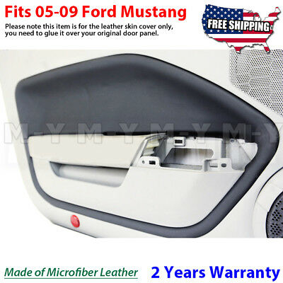 $34.88 • Buy Fits 05-09 Ford Mustang Leather Door Panel Insert Cards Cover 2pcs Black