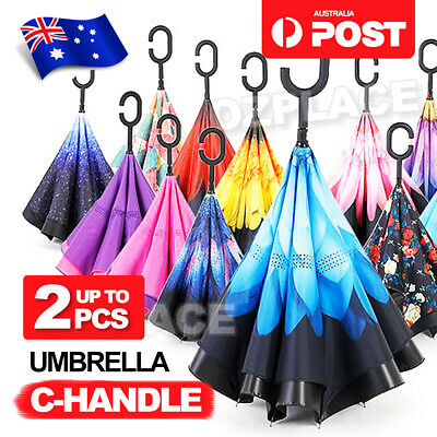 AU15.95 • Buy Windproof Upside Down Reverse Umbrella C-Handle Double Layer Inside-Out Inverted