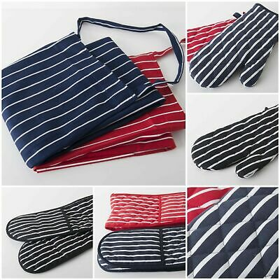 £4.99 • Buy 100% Cotton Butcher Stripe Kitchen Apron Quilted Single Double Oven Gloves Mitts