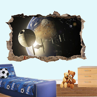 Earth Star Spaceship Wars Wall Stickers 3d Art Mural Cool Office Home Decor Uk6 • 18.99£