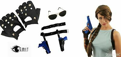 Lara Croft  Set WIG GLOVES GUNS HOLSTERS MOVIE CHARACTER FANCY DRESS COSTUME • 18.98£