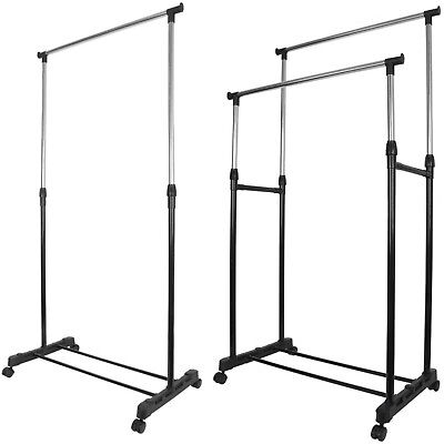 £13.95 • Buy Garment Rack Single Double Silver Black Adjustable Portable Clothes Rail Stand