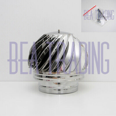 CHIMNEY SPINNER COWL Spinning, Stainless Steel Rotating INOX To Fit 125mm/4.92'' • 55.59£