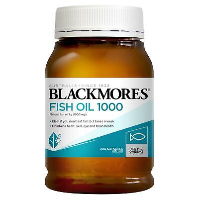 AU18.34 • Buy Blackmores Fish Oil 1000mg Capsule 200 Omega 3 Natural Source Dietary Supplement