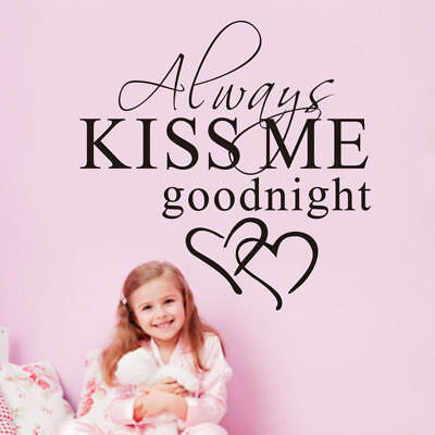 Always Kiss Me Goodnight Love Quote Wall Stickers Bedroom Removable Decals Art • 2.07£