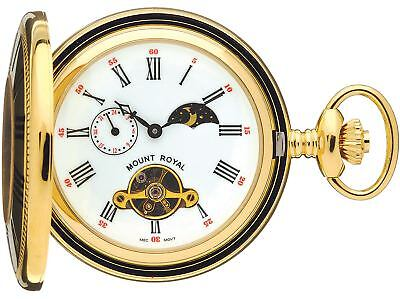 £140.40 • Buy Skeleton Pocket Watch Gold Plated Half Hunter With Moon Phases 17 Jewel Box