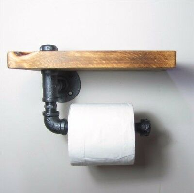 AU21.62 • Buy AU Toilet Paper Roll Holder Pipe Shelf Rustic Industrial Floating Bathroom DIY