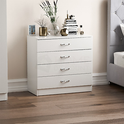 Riano Chest Of Drawers White 4 Drawer Metal Handles Runners Bedroom Furniture • 49.95£