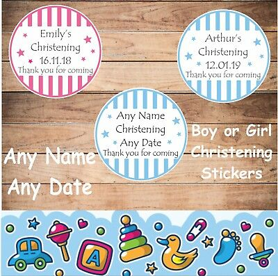 £3.99 • Buy 39 Personalised Christening Stickers & 39 Paper Bags, Favours  For Boy Or Girl