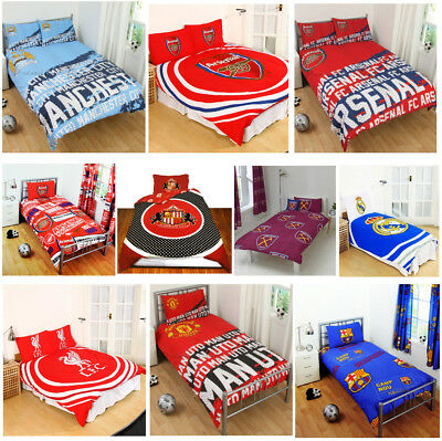 Football Clubs Duvet Cover Set Single Double - Arsenal Barcelona Chelsea & More • 21.79£