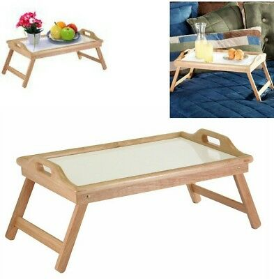 $26.95 • Buy Breakfast In Bed Table Tray Wooden Foldable Legs Lap Laptop Serving Food Eating