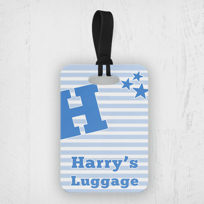 £4.99 • Buy Personalised Kids Blue Name & Initial Boys Travel Suitcase Bag Luggage Tags