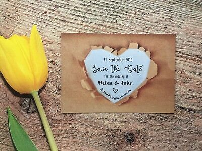 AU26.91 • Buy Personalised Wedding Save The Date Cards Magnet Envelopes Diamante Craft FWK601